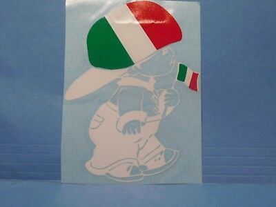 Italy Flag Boy White Vinyl Window Car Tattoo Decal Sticker 5""