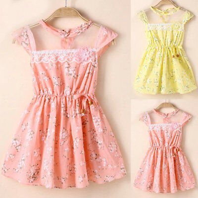 Summer Baby Floral Dress Toddler Kids Girl Lace Party Casual Dresses Sundress