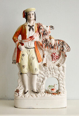 A Good c19th Staffordshire Figure, A Goatsman with his Billy, Beside a Bridge