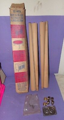 """Vtg Gerber Round Tapered Furniture Replacement Legs 22"""" Unfinished Wood (A) NOS"""