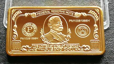Collectable Gold Plated Usa One Thousand Dollars Bullion Bar Gift Novelty