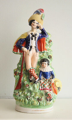 A Fine c19th Antique Victorian Staffordshire Spill Vase, Huntsman and Child