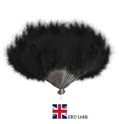 BLACK FEATHER FAN Hand Held Ladies Burlesque Fancy Dress Costume 20s Flapper UK