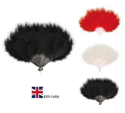 HAND HELD SOFT FEATHER FAN Burlesque 20s Flapper Wedding Ladies Fancy Dress UK