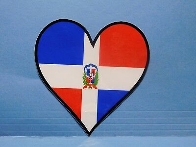 Dominican Republic Flag Heart Vinyl Window Car Tattoo Decal Sticker 4""