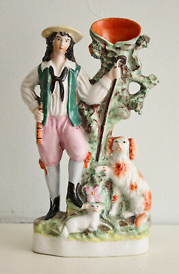 A c19th Antique Staffordshire Figure, A Shepherd Boy with his Dog & a Lamb