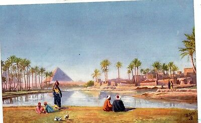 THE PYRAMIDS  GIZA  CAIRO  EGYPT  Tuck's Oilette card