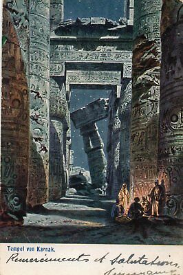 TEMPLE RUINS  KARNAK  EGYPT  postally used circa 1910