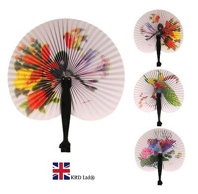 CHINESE PAPER FOLDING HAND FAN Wedding Party Summer Floral Printed Favour NEW UK