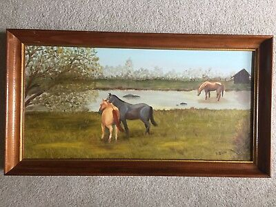 Original Oil Painting, Signed, Horses by a Stream