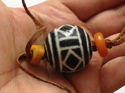 Antique Tibetan Etched Agate Bead Pyu Dzi Chinese Necklace