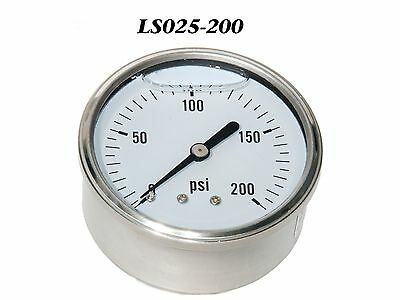"New Hydraulic Liquid Filled Pressure Gauge 0-200 PSI 1/4"" NPT Center Back Mount"