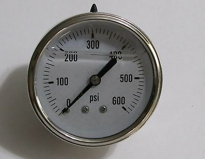 "New Hydraulic Liquid Filled Pressure Gauge 0-600 PSI 1/4"" NPT Center Back Mount"