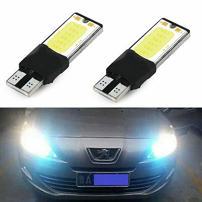 2pcs 6W Bright T10 LED Auto Car Interior COB Width Wedge Bulb Light 12V White MX