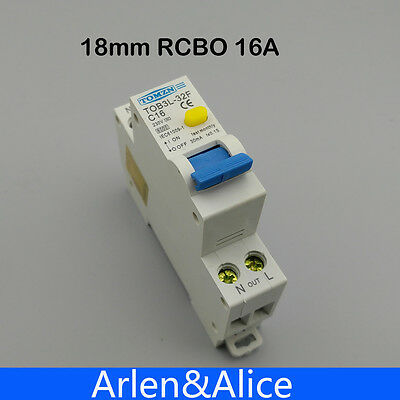 TOB3L-32F 18MM RCBO 16A 1P+N 6KA Residual current Circuit breaker