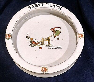 VINTAGE BRIDGWOOD See - Saw Margery Daw  MADE IN ENGLAND BABY PLATE BOWL