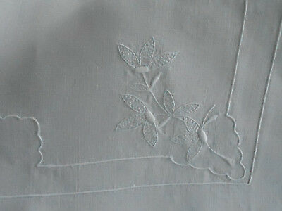 Antique Metis Linen Sheet With Lovely Embroidery. Cir1920