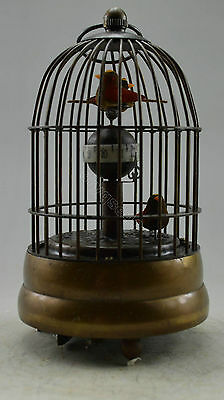 Collectible Decorated Old Copper Carved Bird In Cage Mechanical Table Clock