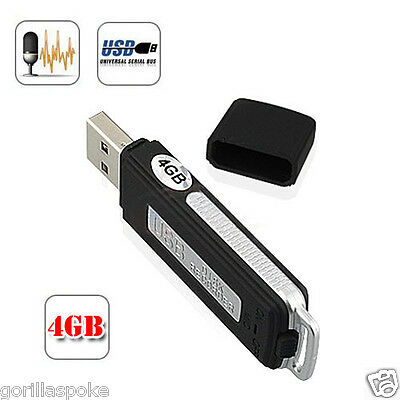 4GB SPY USB Digital Voice Recorder with Mic - GorillaSpoke, Free P&P Worldwide!