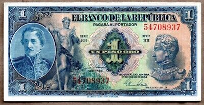 Colombia VF/XF Note 1 Peso Oro January 1954 P-380g