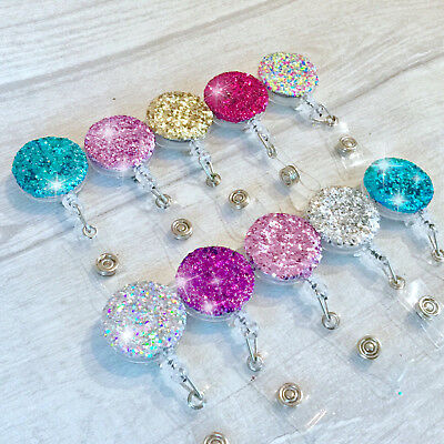 Glitter Retractable Recoil ID Badge Reel Pass Card Holder Keyring Yoyo Ski Key