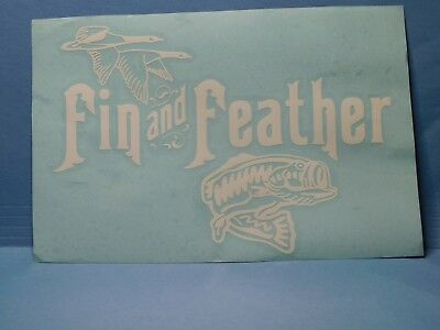 Fin and Feather White Vinyl Window Car Tattoo Decal Sticker 8""
