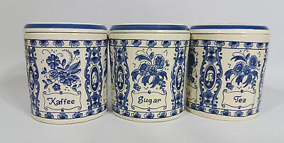 Vintage Delft Blue Ceramic Storage Containers Tea Coffee Sugar Hand Painted
