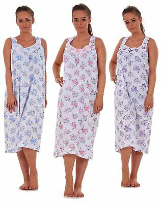Ladies Women Nightwear Rose Print 100% Cotton Sleeveless Long Nightdress M-3XL