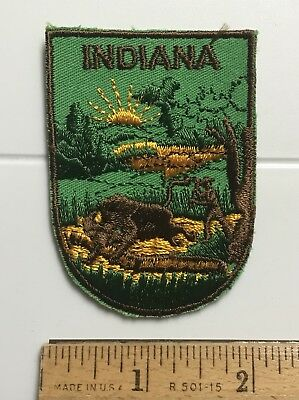 Indiana State Seal Design Buffalo Bison Woodsman IN Souvenir Embroidered Patch