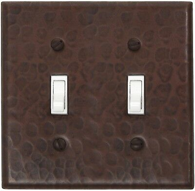 Hammered Copper Switch Plate Cover (LSC401) 2 Gang Double Standard Toggle+screws