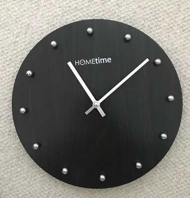 Dark Brown MDF Round Wall Clock - 30.5cm in Size