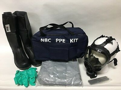 Nuclear, Bio, Chemical Hazard Survival Kit with Gas Mask, Suit, Boots and Gloves
