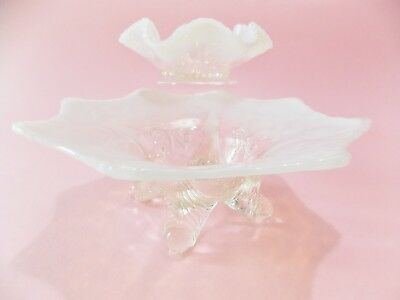 Two Lacy Antique Vintage Opalescent Glass Bowls Clear White Opalescent Glass