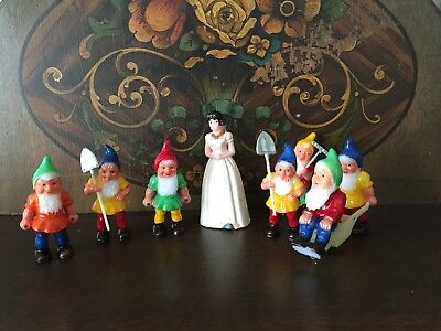 Vintage  Snow White And Seven Dwarfs Cake Toppers