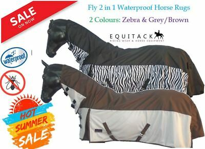 Lightweight 2 in 1 Horse Fly Rug 100 % Waterproof Topline & Fixed Combo Neck