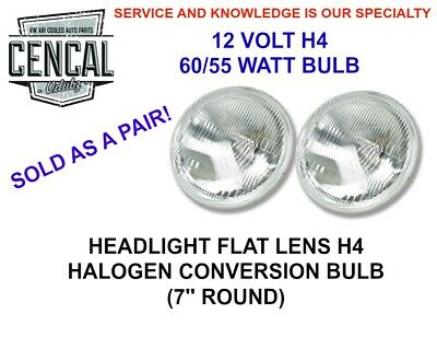 "VW PORSCHE H4  7"" ROUND CONVERSION HEADLIGHT w/BULB FLAT LENS QTY 2 AC945461EC"