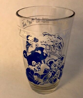Vintage Kraft Swanky Swig Glass juice Cup child Blue teddy bear pigs 1950's