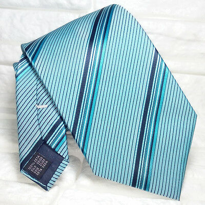 Classic green blue tie new silk NEW Made in Italy business events striped