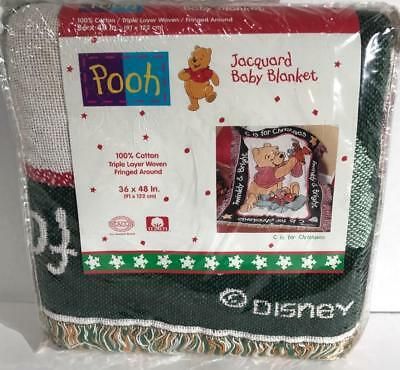Pooh C is for Christmas Jacquard Baby Blanket 36x48 inch Winnie Triple Layer
