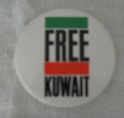 """Two Free Kuwait buttons from Operation Desert Sheild. 2"""", plastic."""