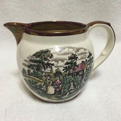 """Vintage, """"THE OLD MILL"""" small Pitcher,Lustreware,OLD CASTLE,England"""