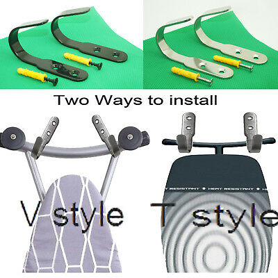 1 Pair Wall Mount Ironing Board Hook Holder Storage Silvery/black Display Rack