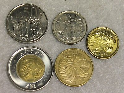 set of 5 different coins from Ethiopia