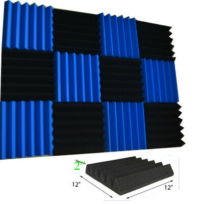 "12 Pack Wedge BLUE/Black Acoustic Soundproofing Studio Foam Tiles 2""x12""x12"""