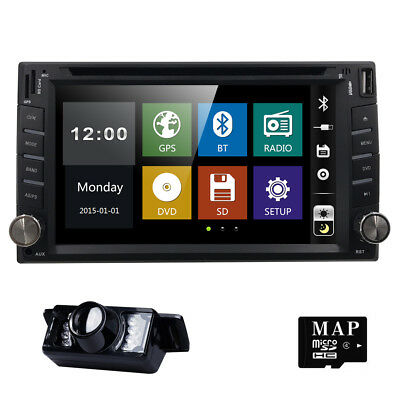 "GPS Double 2Din 6.2"" Car Stereo DVD CD MP3 Player HD In Dash Bluetooth Radio Cam"