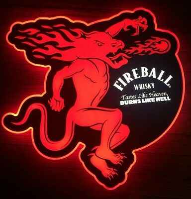 "New 20"" Fireball Whiskey Lighted LED Bar Pub Man Cave Sign Liquor Display"