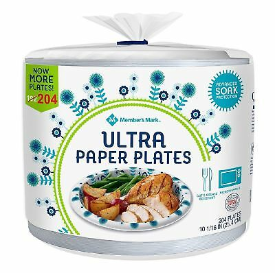 """Member's Mark Ultra Plate 10-1/16"""" 204 ct Cut and Grease Resistant - Free Ship"""