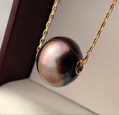 Free Shipping! 12.4mm AAA Tahitian Pearl floating on a 9k Gold Chain & 18k Caps