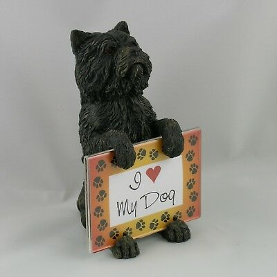 Black Cairn Terrier HOLDING PICTURE FRAME New