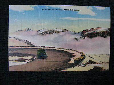 Trail Ridge Road- Above the Clouds Rocky Mountain- Vintage linen postcard